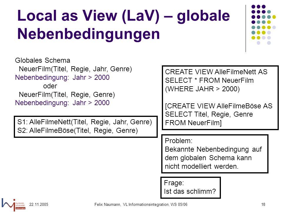 Local as View (LaV) – globale Nebenbedingungen