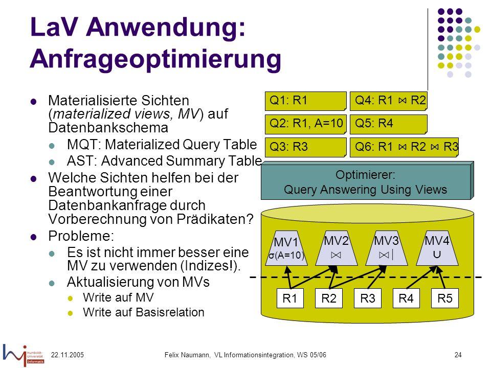 LaV Anwendung: Anfrageoptimierung