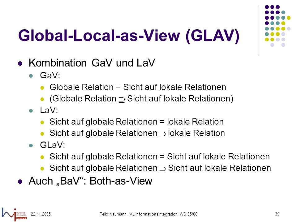 Global-Local-as-View (GLAV)