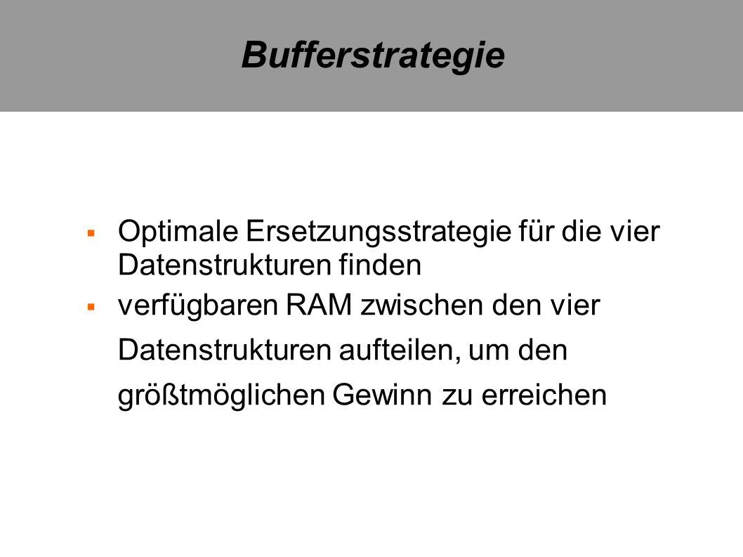 Bufferstrategie Optimale Ersetzungsstrategie für die vier Datenstrukturen finden.