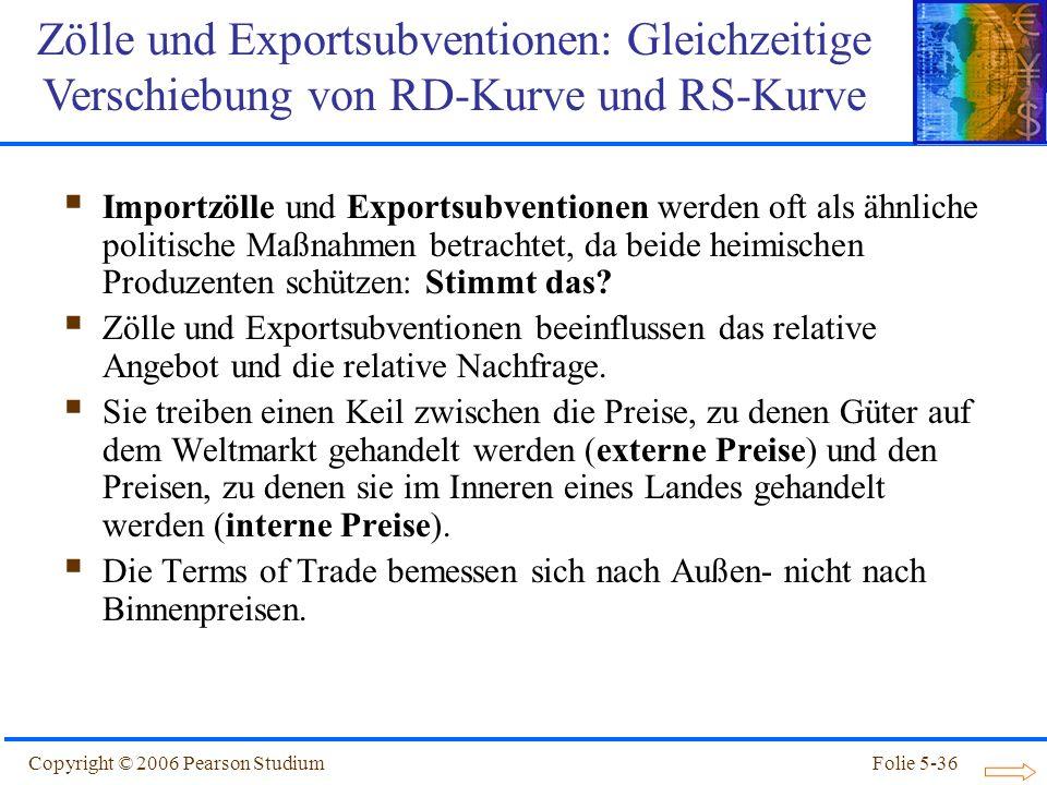 Zölle und Exportsubventionen: Gleichzeitige Verschiebung von RD-Kurve und RS-Kurve