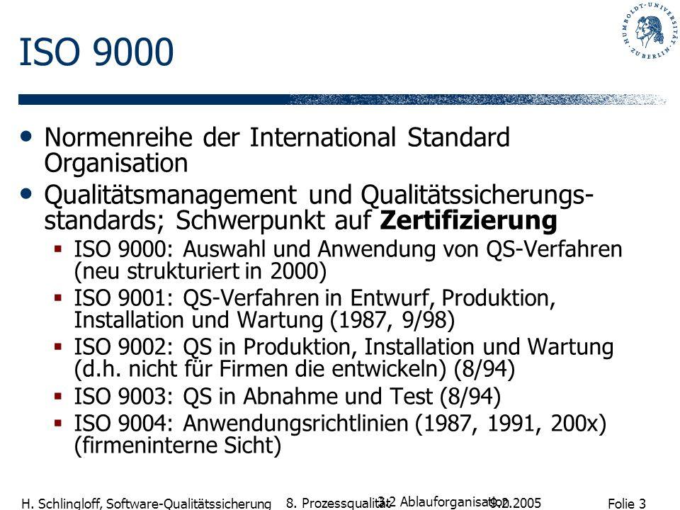 ISO 9000 Normenreihe der International Standard Organisation