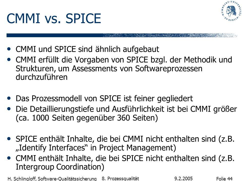 CMMI vs. SPICE CMMI und SPICE sind ähnlich aufgebaut