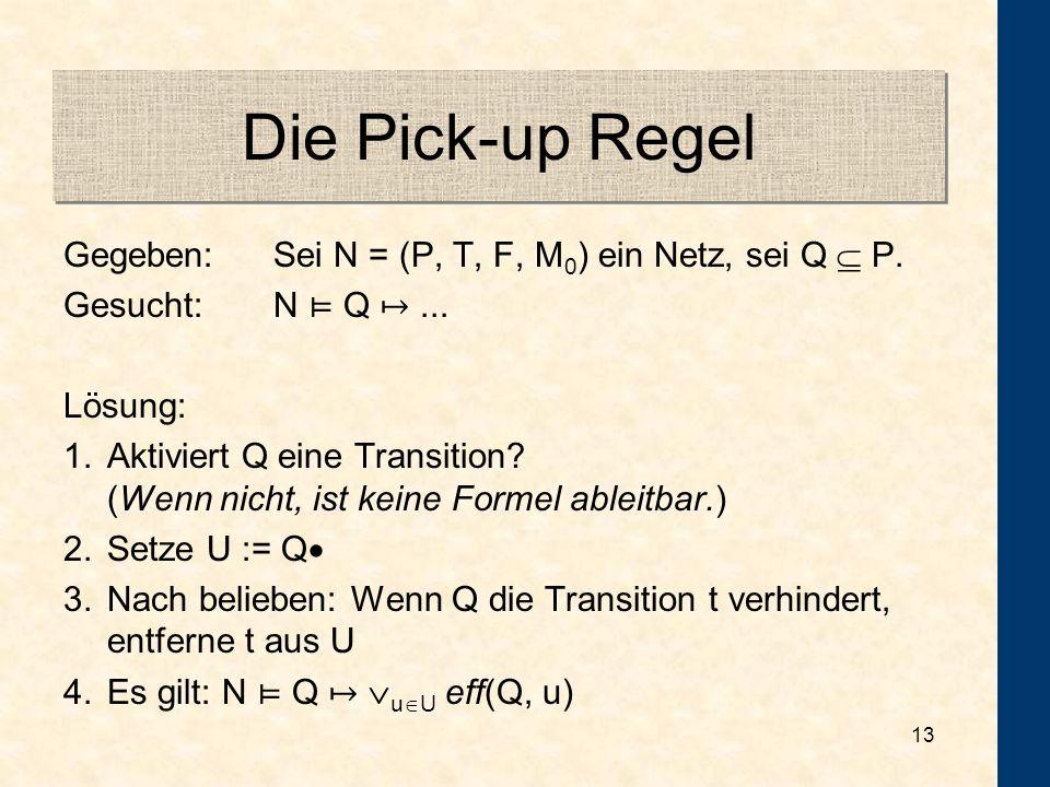 Die Pick-up Regel Gegeben: Sei N = (P, T, F, M0) ein Netz, sei Q  P.
