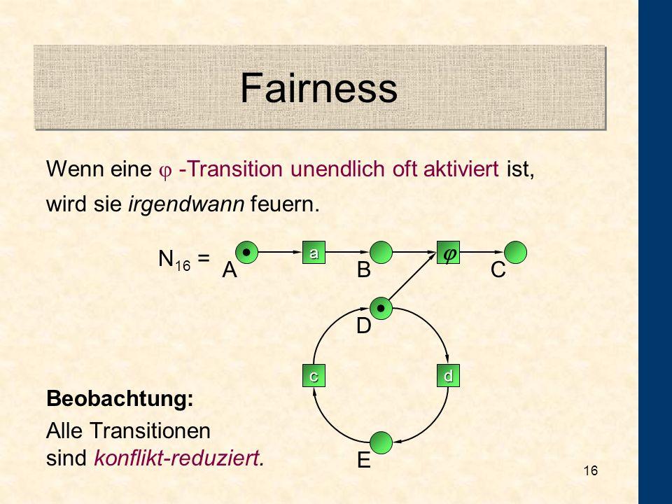Fairness • Wenn eine  -Transition unendlich oft aktiviert ist,