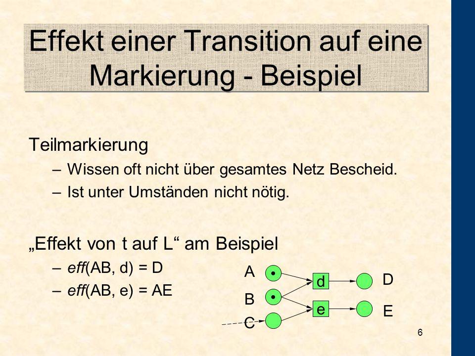 Effekt einer Transition auf eine Markierung - Beispiel
