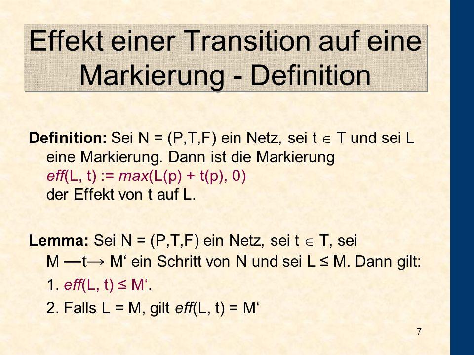 Effekt einer Transition auf eine Markierung - Definition