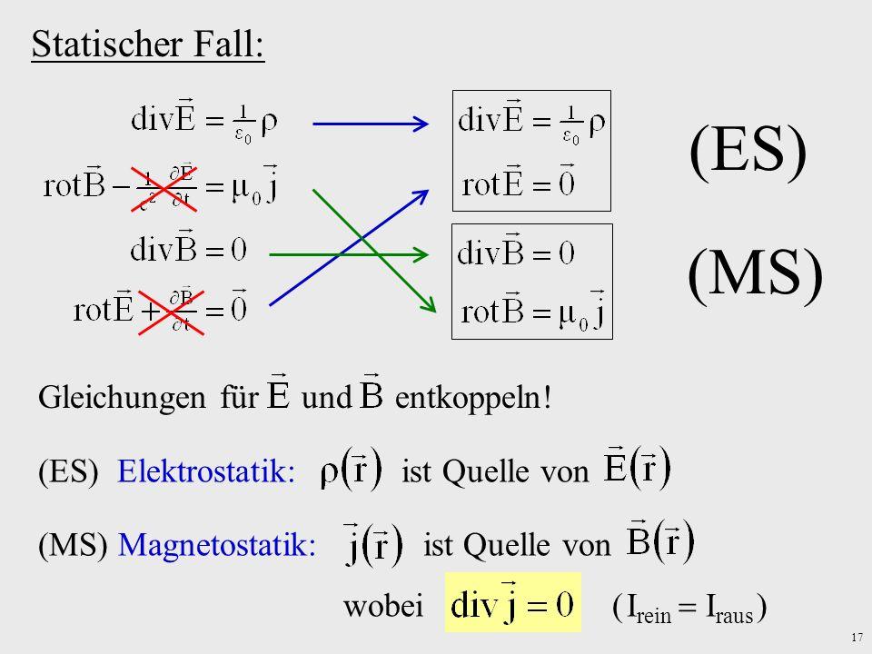 (ES) (MS) Statischer Fall: Gleichungen für und entkoppeln!