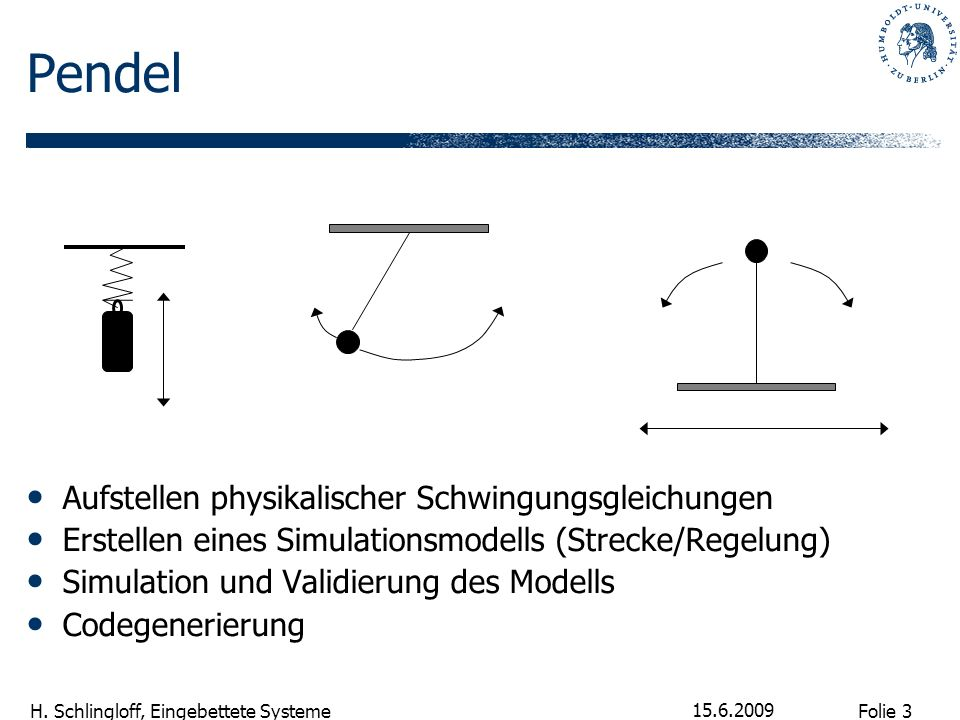 Pendel Aufstellen physikalischer Schwingungsgleichungen