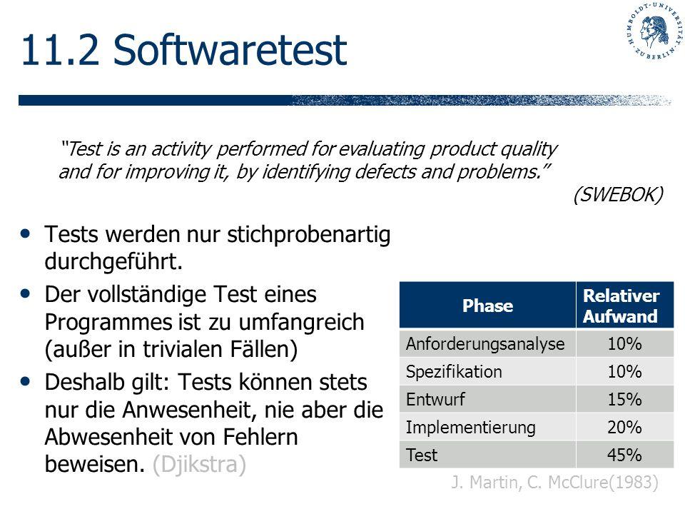 11.2 Softwaretest Tests werden nur stichprobenartig durchgeführt.