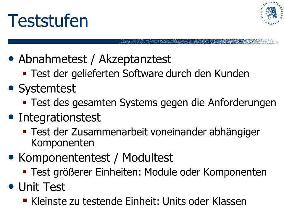 Teststufen Abnahmetest / Akzeptanztest Systemtest Integrationstest