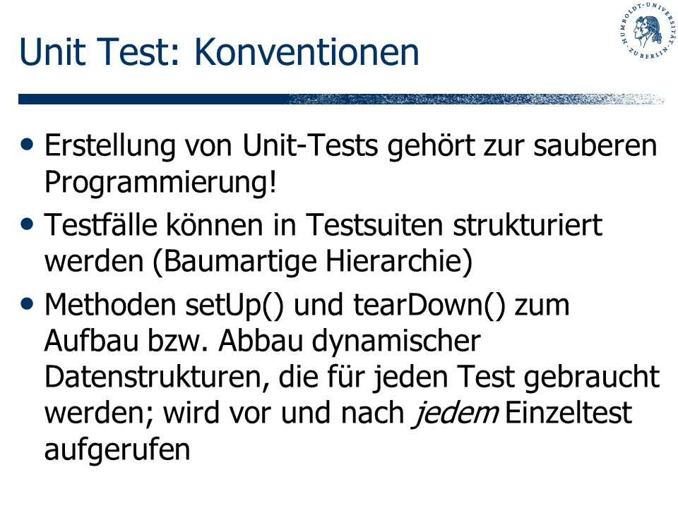 Unit Test: Konventionen