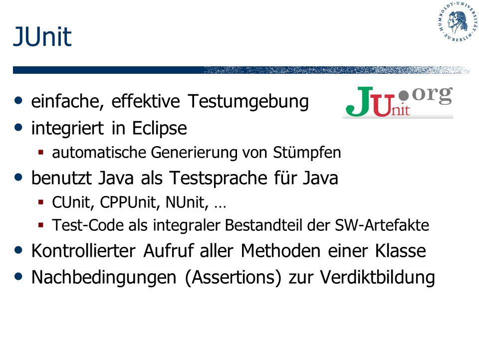 JUnit einfache, effektive Testumgebung integriert in Eclipse