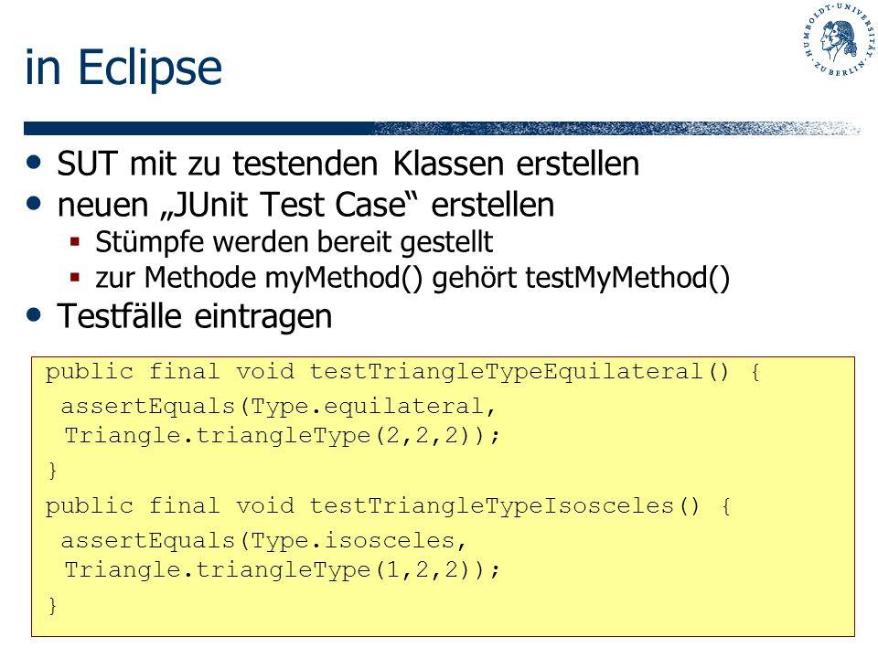 in Eclipse SUT mit zu testenden Klassen erstellen