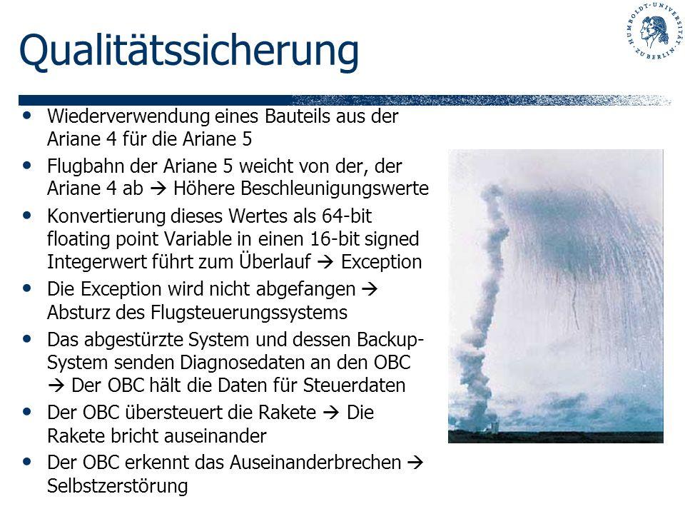 QualitätssicherungWiederverwendung eines Bauteils aus der Ariane 4 für die Ariane 5.