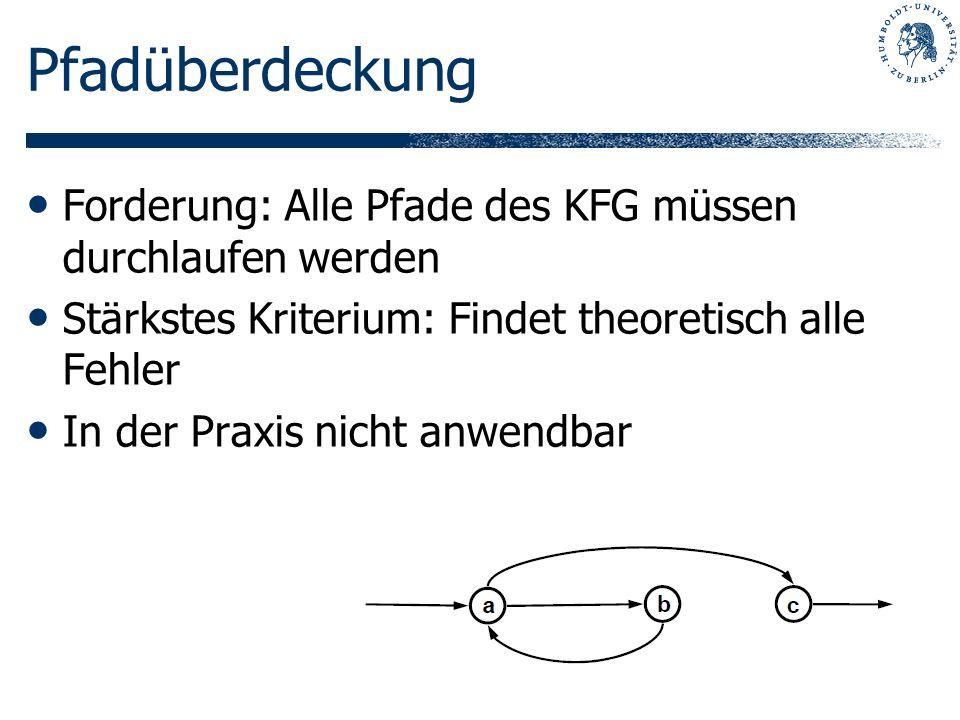 Pfadüberdeckung Forderung: Alle Pfade des KFG müssen durchlaufen werden. Stärkstes Kriterium: Findet theoretisch alle Fehler.