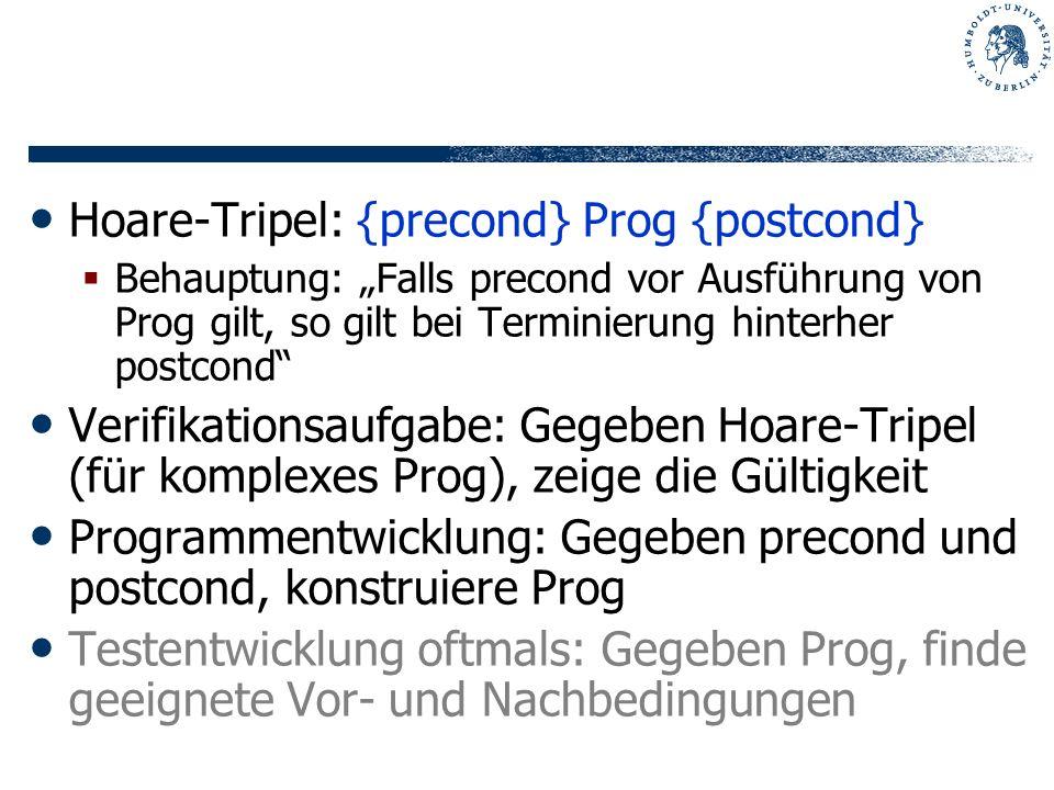 Hoare-Tripel: {precond} Prog {postcond}