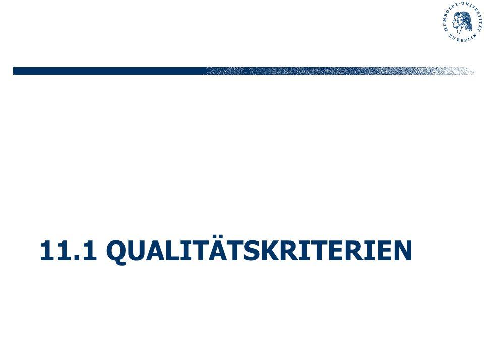 11.1 Qualitätskriterien