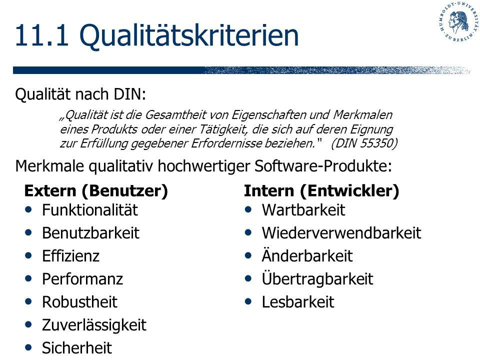 11.1 Qualitätskriterien Qualität nach DIN: