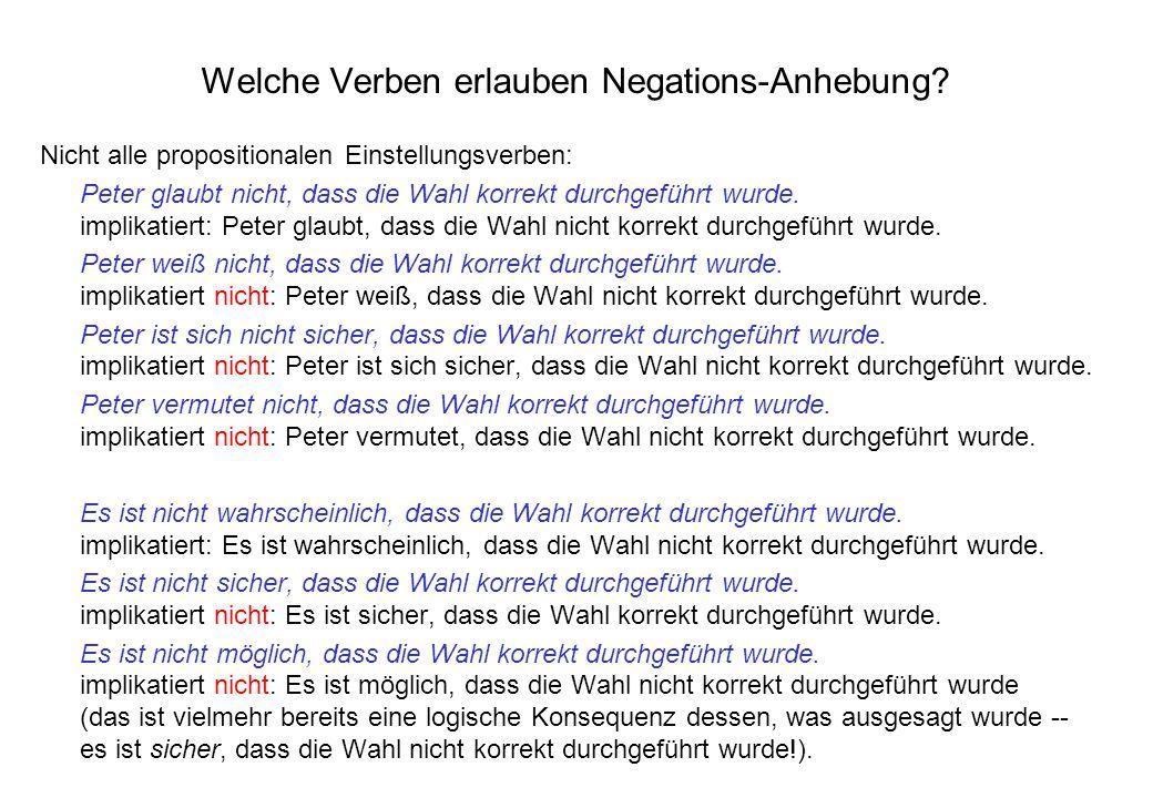 Welche Verben erlauben Negations-Anhebung