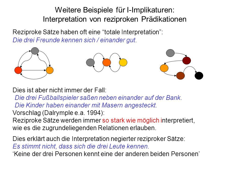 Weitere Beispiele für I-Implikaturen: Interpretation von reziproken Prädikationen