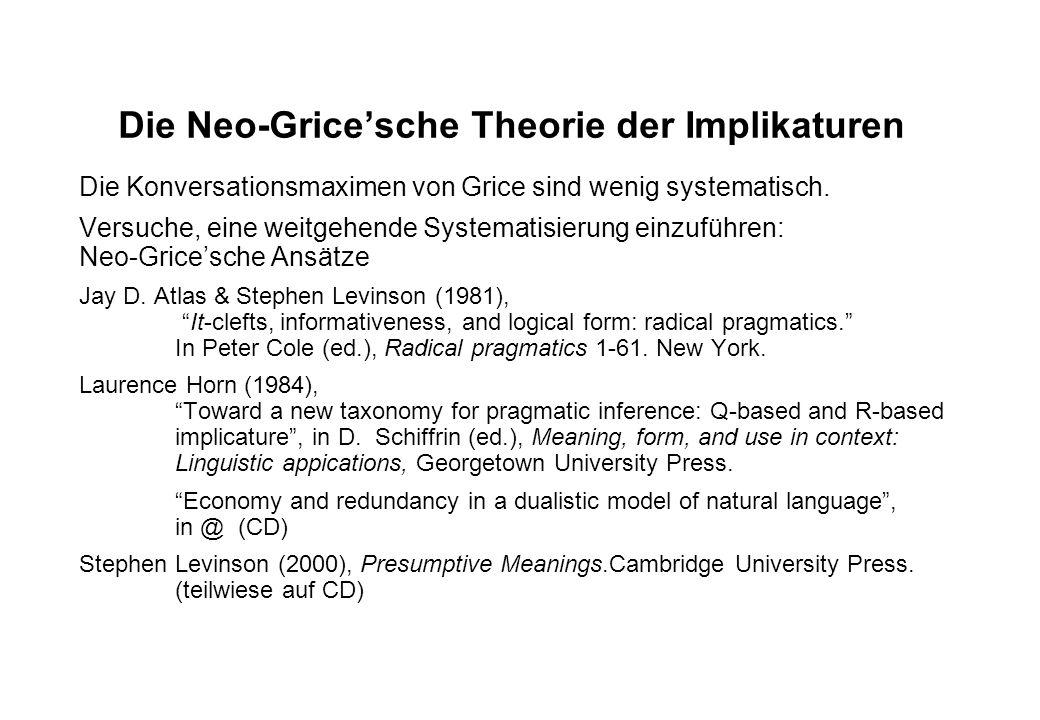 Die Neo-Grice'sche Theorie der Implikaturen