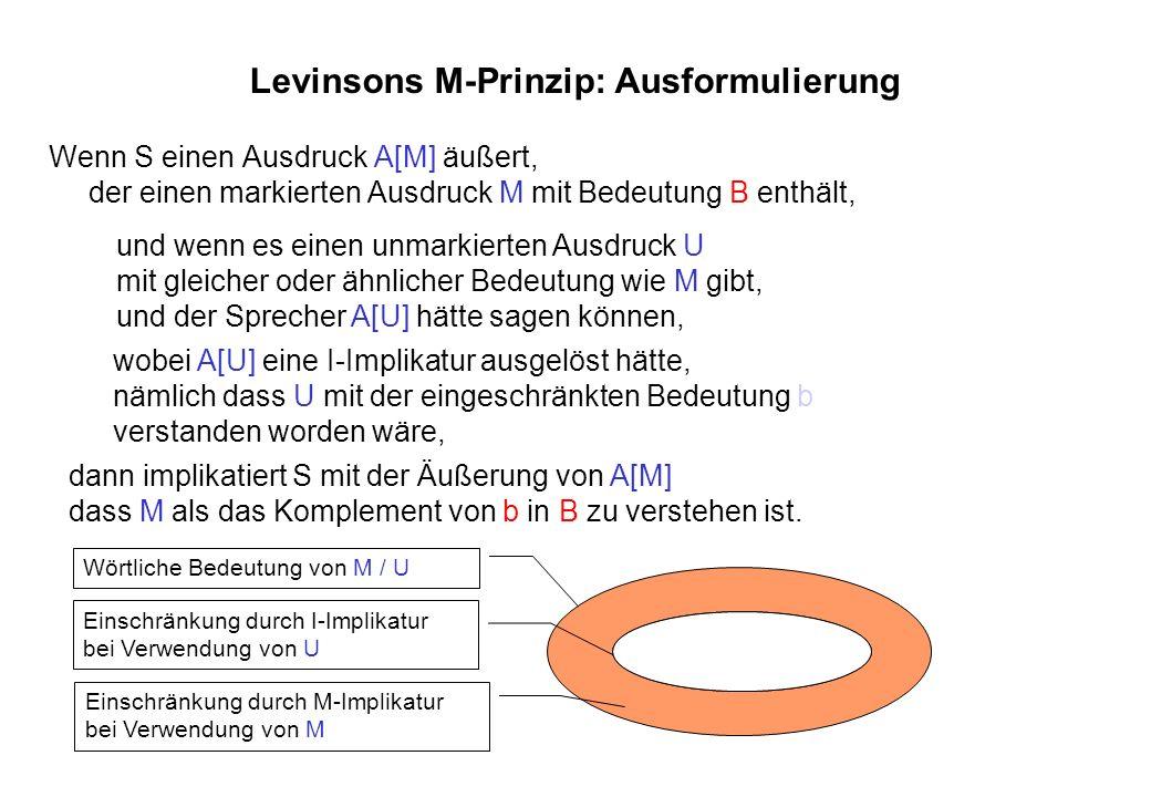 Levinsons M-Prinzip: Ausformulierung