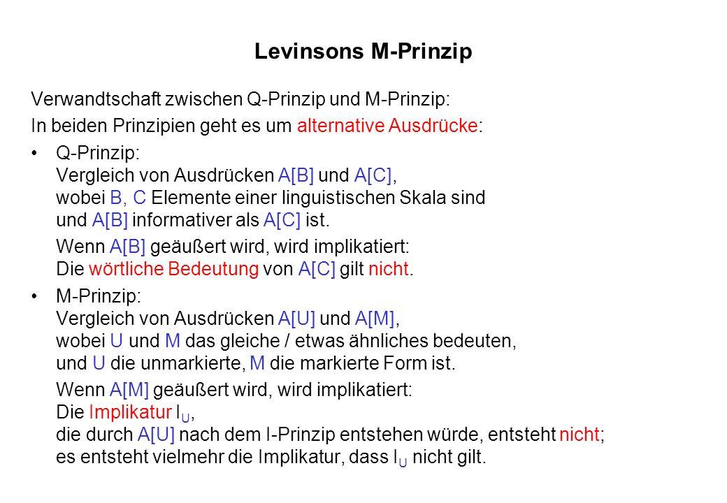 Levinsons M-Prinzip Verwandtschaft zwischen Q-Prinzip und M-Prinzip: