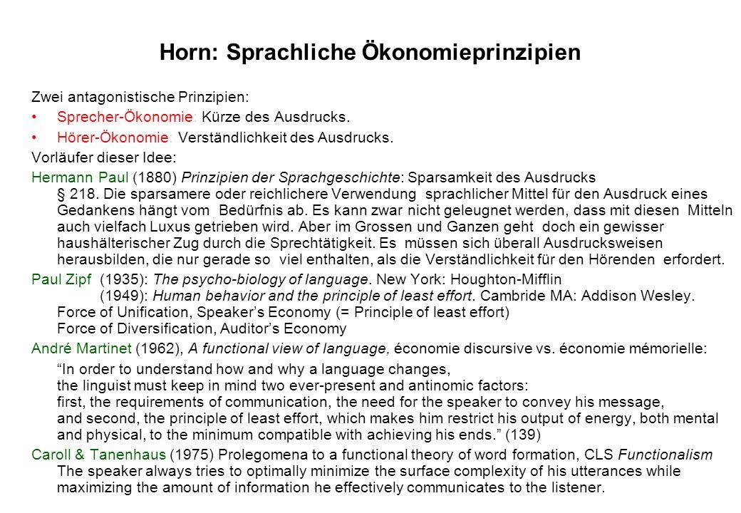 Horn: Sprachliche Ökonomieprinzipien