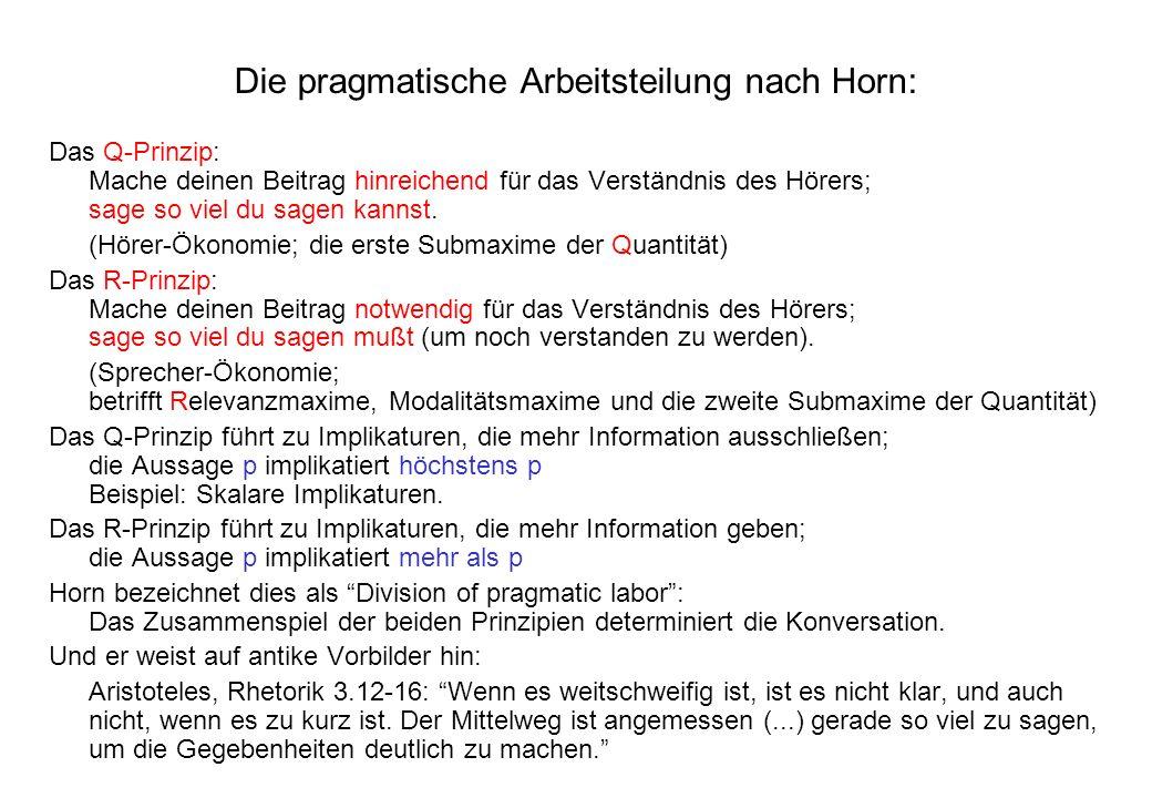 Die pragmatische Arbeitsteilung nach Horn: