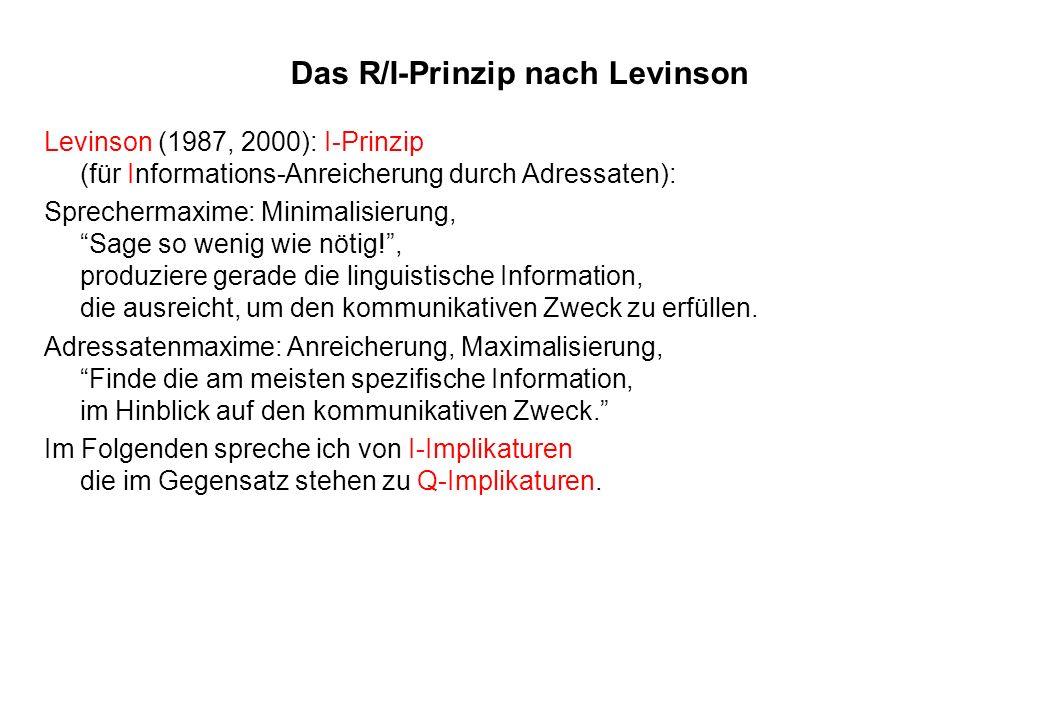 Das R/I-Prinzip nach Levinson
