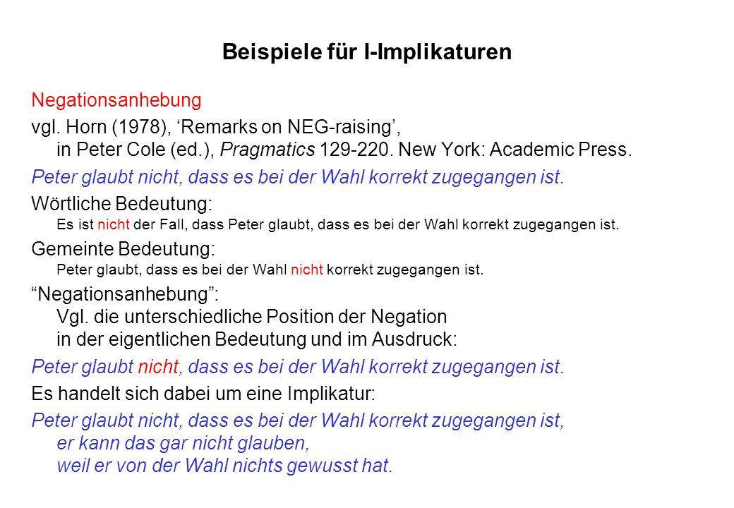 Beispiele für I-Implikaturen