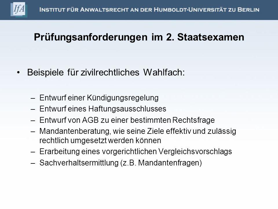 Prüfungsanforderungen im 2. Staatsexamen