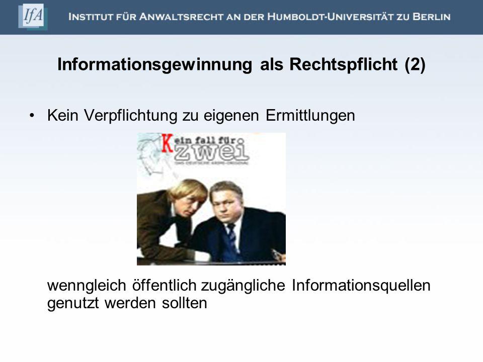 Informationsgewinnung als Rechtspflicht (2)