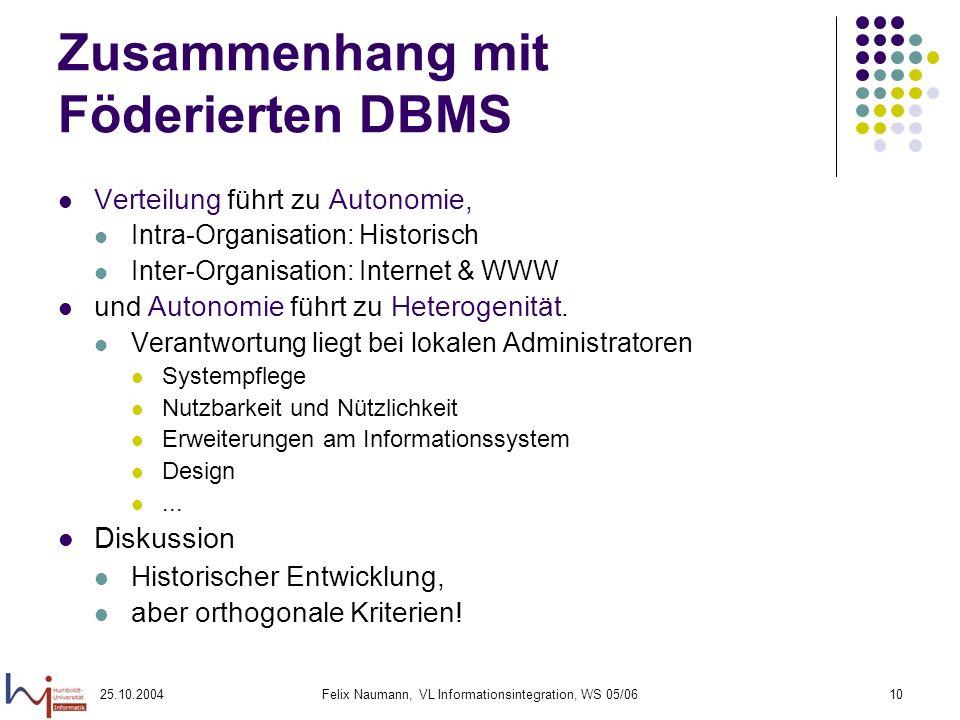 Zusammenhang mit Föderierten DBMS