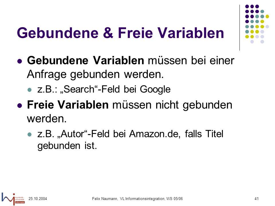 Gebundene & Freie Variablen