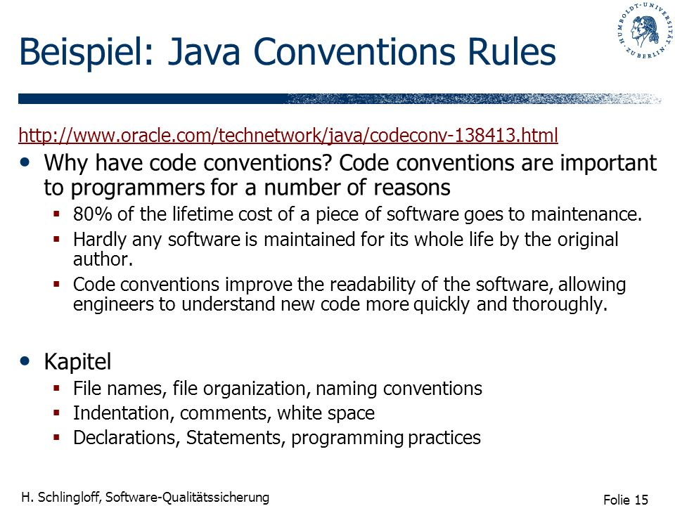 Beispiel: Java Conventions Rules