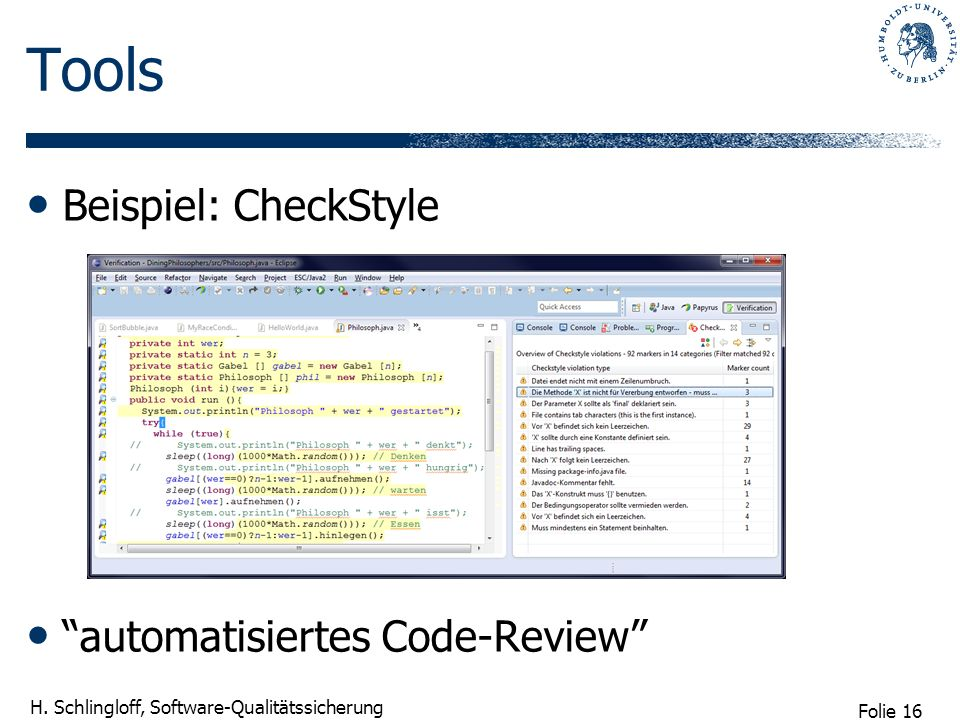 Tools Beispiel: CheckStyle automatisiertes Code-Review