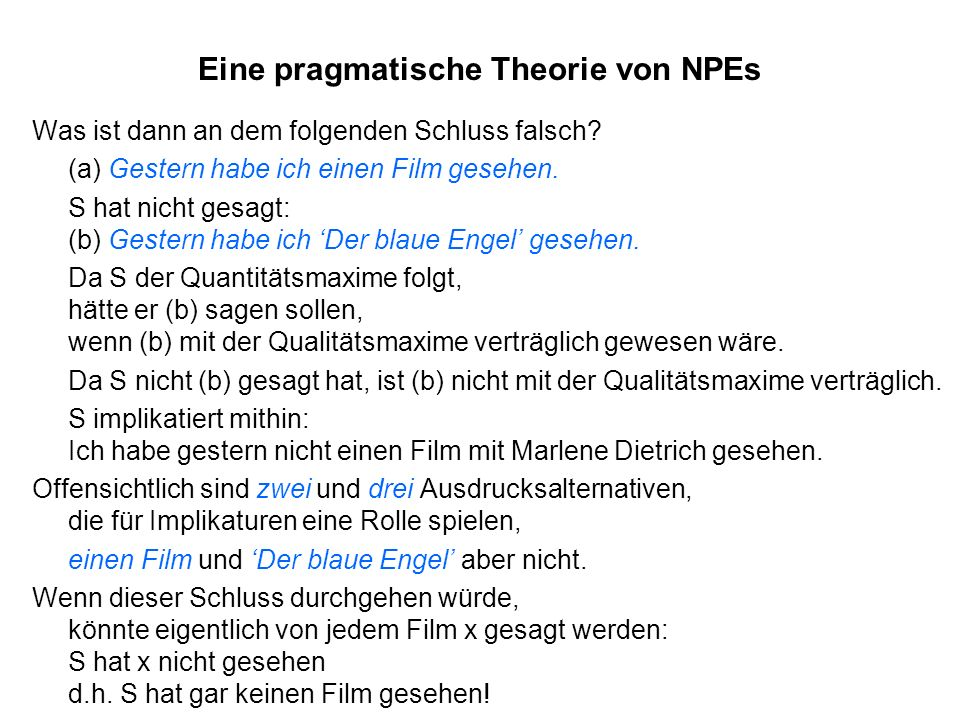 Eine pragmatische Theorie von NPEs