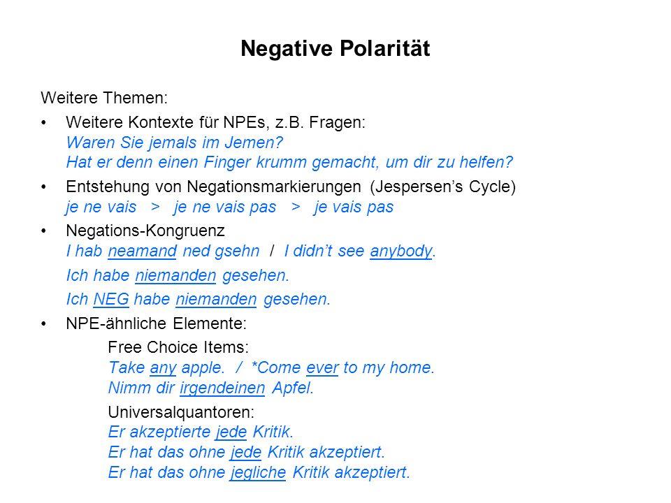 Negative Polarität Weitere Themen:
