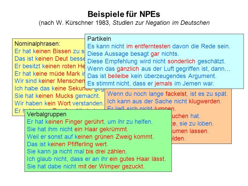 Beispiele für NPEs (nach W