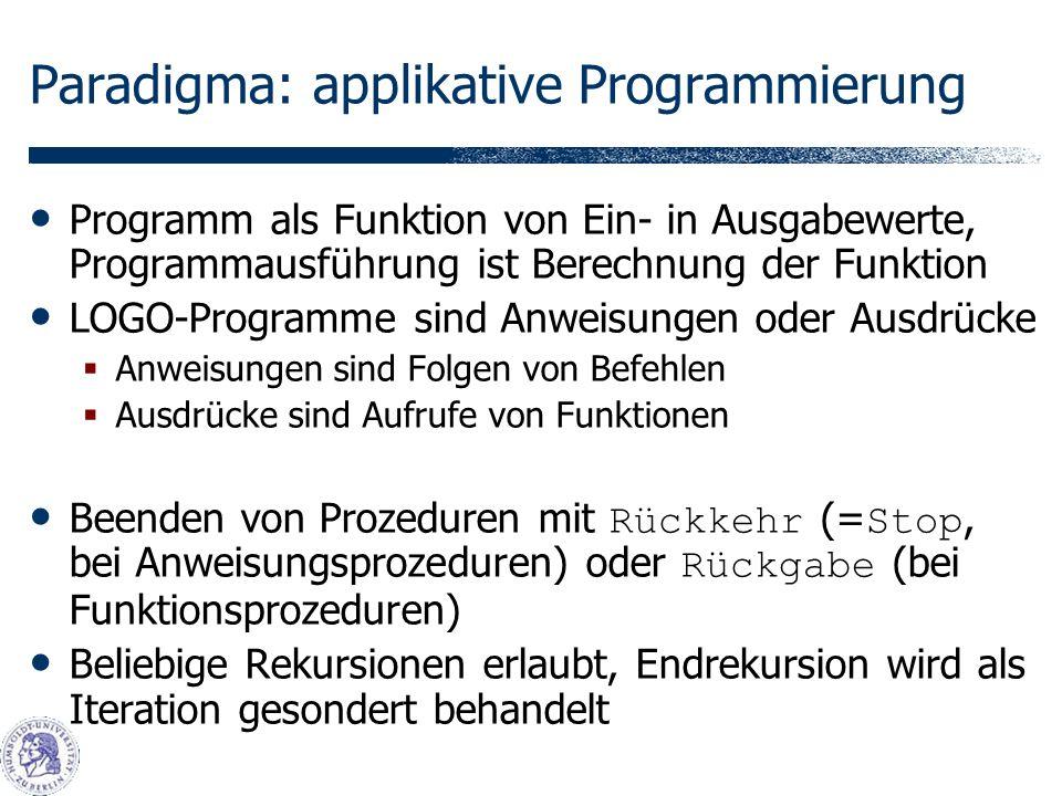 Paradigma: applikative Programmierung