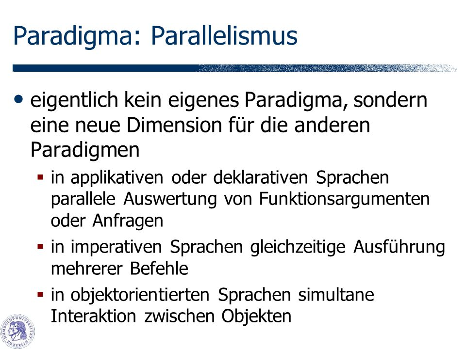Paradigma: Parallelismus