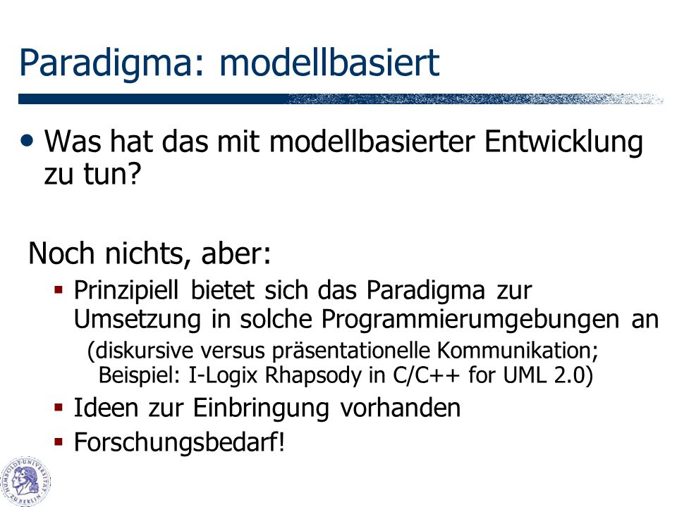 Paradigma: modellbasiert