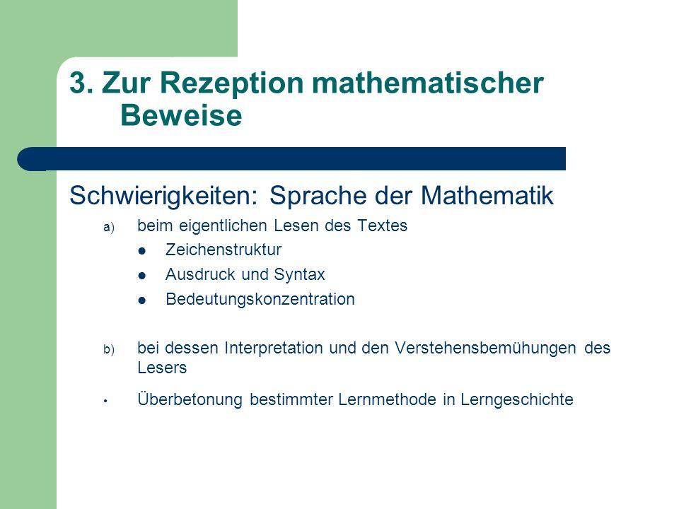3. Zur Rezeption mathematischer Beweise