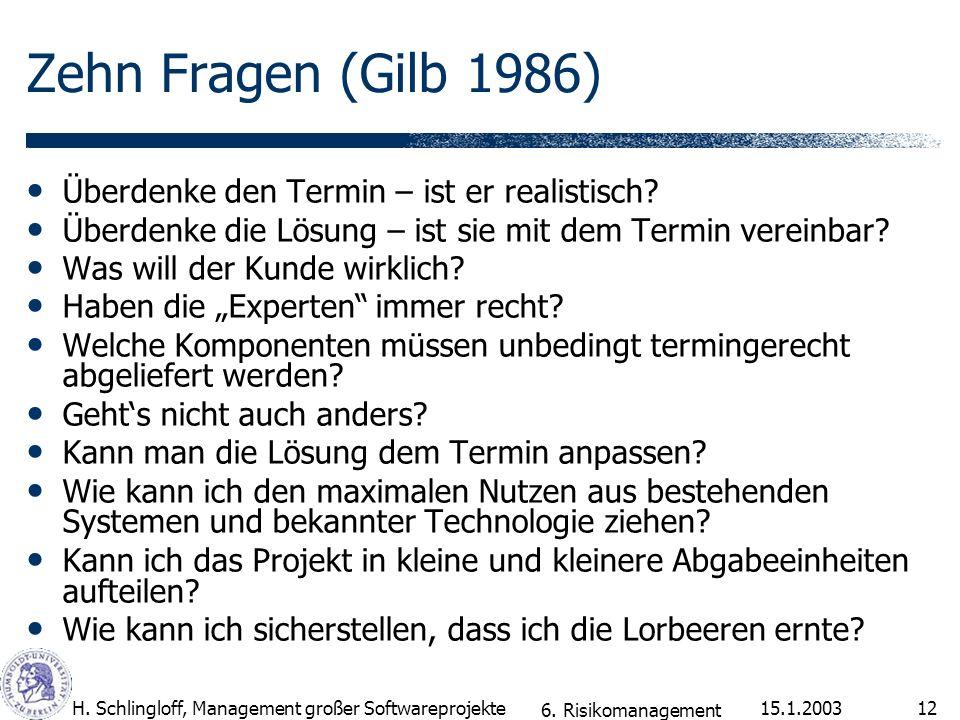 Zehn Fragen (Gilb 1986) Überdenke den Termin – ist er realistisch