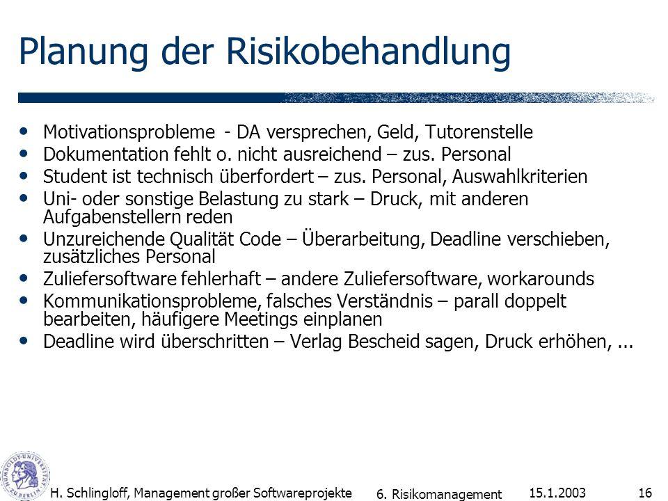 Planung der Risikobehandlung