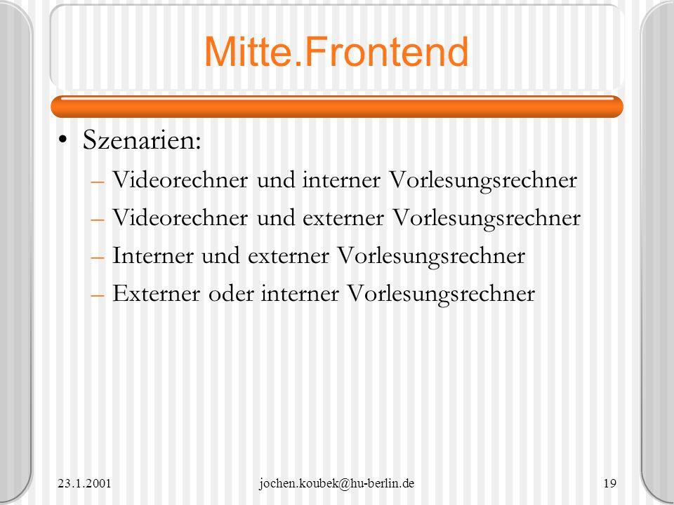 Mitte.Frontend Szenarien: Videorechner und interner Vorlesungsrechner