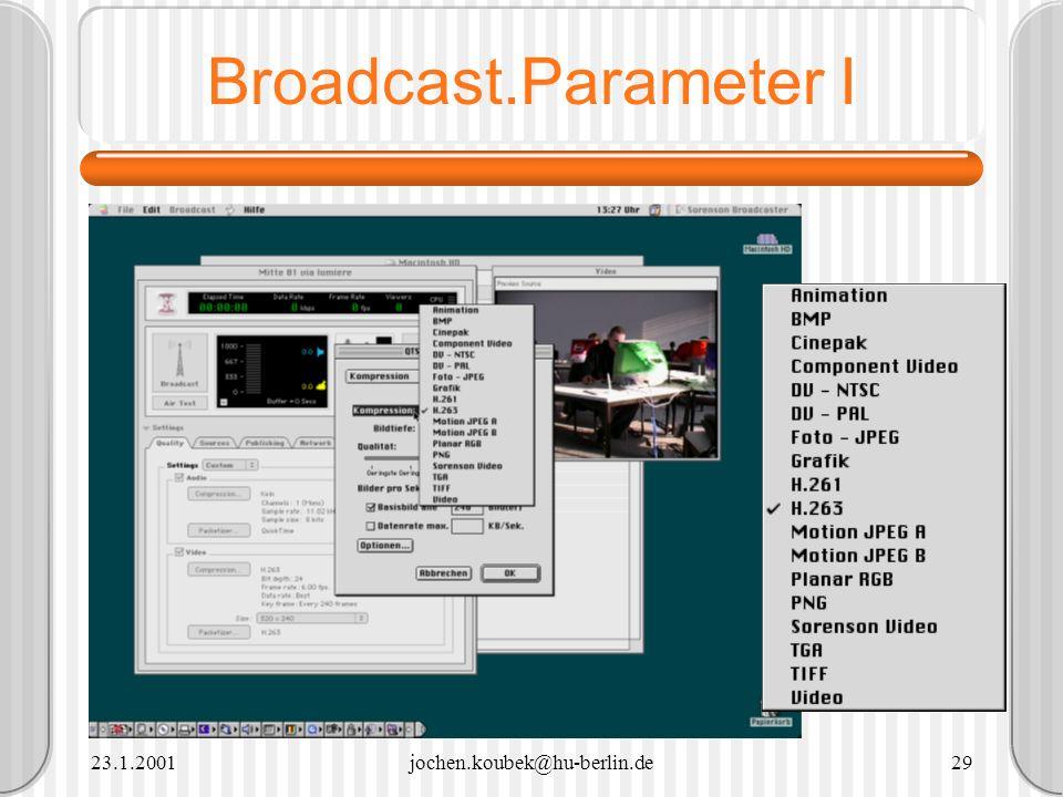 Broadcast.Parameter I 23.1.2001 jochen.koubek@hu-berlin.de