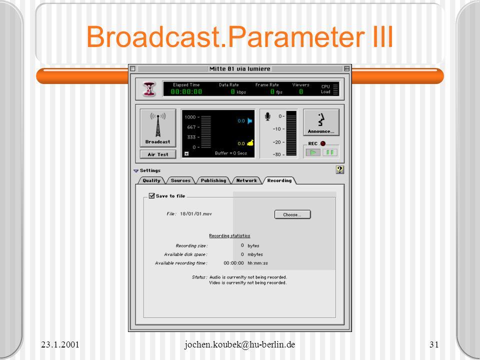 Broadcast.Parameter III